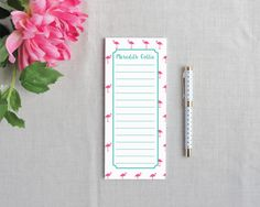 Mini Flamingo Personalized Lined Tall Notepad | Flamingos for a Cure | Meredith Collie Paper  20% of each sale is donated to breast cancer awareness.