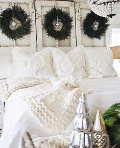 a shabby chic, Scandinavian, coastal cottage white Christmas