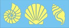 shell stencils | Stencil sea shells 3 beach tropical 2.75x3.25 3.5x3.25 2x3.25 inches ...