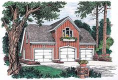 Garage Plan with 659 Square Feet and 1 Bedroom from Dream Home Source   House Plan Code DHSW46918