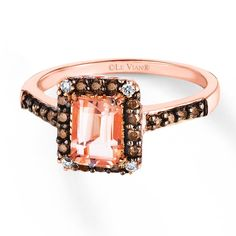 There's no ignoring the gorgeous glow of this emerald-cut Le Vian Peach Morganite ring in 14 karat Strawberry Gold. Black Rings, White Gold Rings, Engagement Rings 4 Carat, Gemstone Jewelry, Diamond Jewelry, Jewelry Rings, Diamond Bracelets, Jewellery, Rings For Her