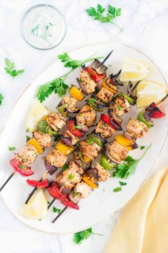 Juicy and flavorful Grilled Mediterranean Chicken Kebabs marinated in olive oil, lemon juice, garlic and spices make for a light, delicious and easy dinner. Chicken Kabob Marinade, Greek Chicken Kabobs, Grilled Chicken Kabobs, Chicken Kebab, Oven Chicken, Chicken Wraps, Kabob Recipes, Grilling Recipes, Healthy Recipes