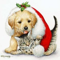 Christmas Cat paintings.  - Kathy Goff