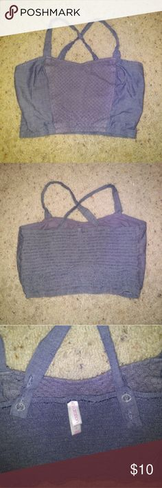 Blue jean colored festival rave hippie crop top Cute I just never wear Tops Crop Tops