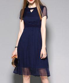 Hollow Round Neck Short Sleeve Patchwork Silk Dress