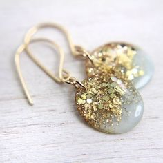 mint earrings with gold leaf and glitter on 14k gold filled earwires - resin drop earrings