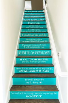 A picture of @stellaanddot's CEO, @JDHerrin's stairs in her house, leading up to her daughters' playroom. She wrote them a poem, and painted it on the stairs -- as an everyday reminder for her daughters :)