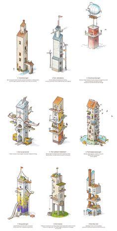 Выбери три дома: 5_14_1 Isometric Drawing, Isometric Design, Fantasy Landscape, Fantasy Art, Landscape Illustration, Illustration Art, Disneysea Tokyo, Apocalypse Art, Concept Art Tutorial