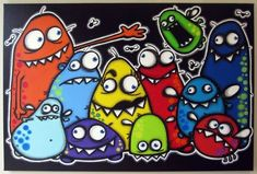mONsTeR fAmiLy - original acrylic painting on canvas, monster art, monster wall decor, monster theme Dibujos Zentangle Art, Art For Kids, Painting For Kids, Monster Pictures, Theme Halloween, Funny Monsters, Manualidades Halloween, Fall Art Projects, School Murals