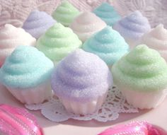 These would be great for a pastel tea party. Pretty Pastel Cupcake Sugar Toppers for by LeChicBakeryBoutique Cupcakes Pastel, Cute Cupcakes, Cupcake Cookies, Glitter Cupcakes, Rainbow Cupcakes, Pastel Macaroons, Marshmallow Cupcakes, Ladybug Cupcakes, Kitty Cupcakes