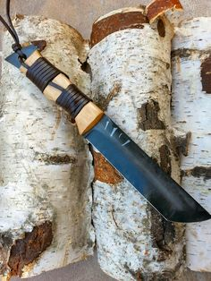 Goblin Scout. Black custom tanto knife with a scandi leather sheath, handmade