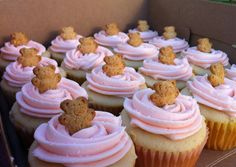 Teddy Graham Cupakes with pink icing