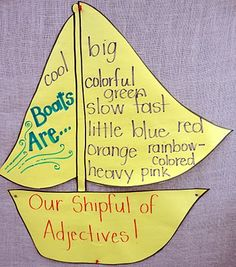 Another adjective activity based on the Boat Book by Gail Gibbons. Also a good book for teaching 'oa and 'oo (which we learning at the same time as adjectives--score!)