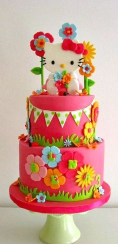 True love is a hello kitty birthday cake like this. Hello Kitty Torte, Torta Hello Kitty, Pretty Cakes, Cute Cakes, Beautiful Cakes, Amazing Cakes, Anniversaire Hello Kitty, Girly Cakes, Pink Cakes