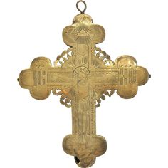 Antique Russian reliquary cross, 19th century from chateau on Ruby Lane