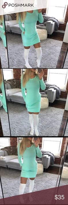 Mint sweater dress The perfect sweater dress! With 2 side pockets and soft snuggle material. Perfectly paired with tights or socks and high boots. Polyester 87% rayon 8% spandex 5% also available in brown, navy, or off white (oatmeal) Dresses Mini