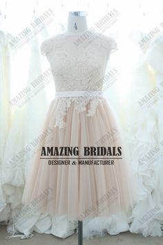 Short wedding Dress Bridal Dress Bridal Gown/Blush Short Lace Wedding Gown/Blush wedding dresses