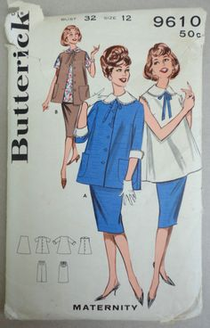 Butterick 1960s Sewing Pattern 9610 Maternity Skirt Jacket & Blouse Jackie O Style
