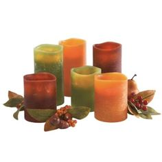 Flameless Textured Candles  Perfect for Fall table designs