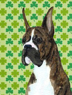 Boxer St. Patrick's Day Shamrock Portrait 2-Sided Garden Flag