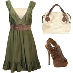 Outfit -- I actually have a green dress similar to this...similar brown heels...now to find a purse to complete the outfit-one line this!
