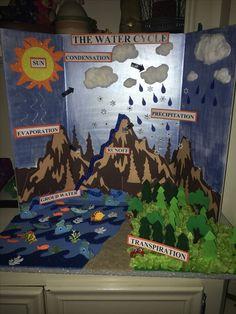 The Water Cycle - Educacion De Ninos School Science Projects, Science Crafts, Science Experiments Kids, Science Lessons, Science For Kids, Science Activities, Weather Activities, Earth Science, Water Cycle Model