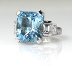 ct Rectangular Cut Cornered Aquamarine and Baguette Diamonds on the side set on a white gold Cocktail Ring- Handmade ! Aquamarines, Baguette Diamond, Cocktail Rings, Cuff Bracelets, Gemstone Rings, Diamonds, White Gold, Jewellery, Handmade
