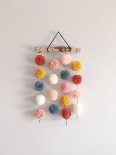 Pom Pom Hanging, Small Driftwood Garland, Nursery Decor, CUSTOM - You are in the right place about crafts for boys Here we offer you the most beautiful pictures abo - Pom Pom Crafts, Yarn Crafts, Diy And Crafts, Crafts For Kids, Arts And Crafts, Preschool Crafts, Pom Pom Diy, Garland Nursery, Nursery Decor