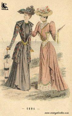 A Century Of Feminines Methods Victorian Women, Victorian Fashion, Vintage Fashion, 1890s Fashion, Fashion Illustration Vintage, 19th Century Fashion, Delpozo, Fashion Plates, Feminine Style