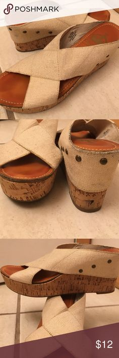 """Cork wedge slip on sandals cream metallic straps Light cork and stars are stretchy cream canvas with gold metallic woven throughout. Very good condition. 3.5"""" at heel and 2"""" at toe Crown Vintage Shoes Sandals"""