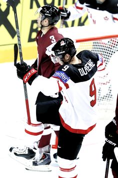 Matt Duchene celebrates his goal against Latvia at O2 arena in Prague (May 1, 2015) Matt Duchene, Columbus Blue Jackets, May 1, Prague, Nhl, Motorcycle Jacket, Hockey, Goals, Celebrities