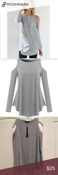 *HOST PICK* NWT Gray Cold Shoulder Top New With Tags Heather Grey swing style Top size XL could also work for Large Tops