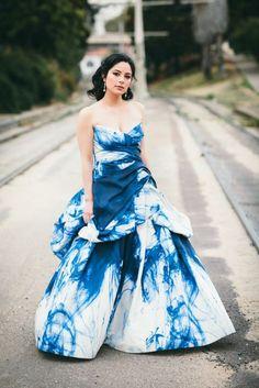 blue tide dye wedding dress