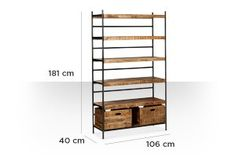 Swoon Editions Shelving unit, contemporary style in mango wood & iron - Contemporary Shelving, Contemporary Style, Swoon Editions, Firewood Storage, Ladder Bookcase, Mango, The Unit, Iron, Indoor