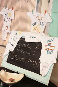onesie decoration at baby shower