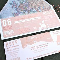 boarding pass wedding invitation bundle by rodo creative | notonthehighstreet.com