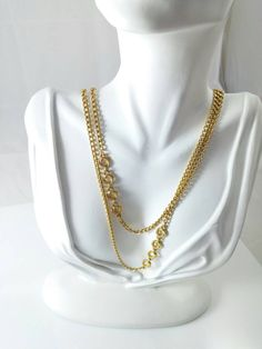 Vintage 70s 80s Monet Gold Necklace Twisted Stationed Braided Circles gotvintage