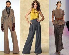 С чем носить широкие брюки, фото Vintage Inspired Fashion, Trousers, Pants, Dress Skirt, What To Wear, Jumpsuit, Style Inspiration, Watch, Elegant