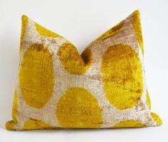 Sukan Ikat Silk Velvet Pillow  Cream Yellow Polka Dots by sukan, $65.00