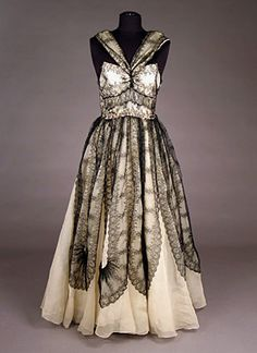 Chiffon & Lace Evening Gown, 1950s