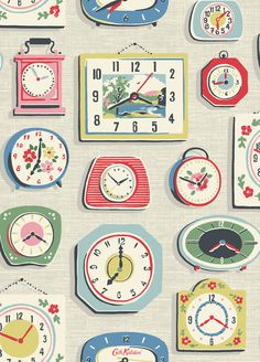 Clocks Stone | Our seasonal theme of time is graphically captured in three colourways - stone, green and red - in a lively novelty print with each clock uniquely hand-drawn by our designers. The vintage feel is enhanced with a Formica-style textured background in the stone version.