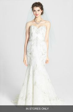 Watters 'Olina' Beaded Lace Mermaid Dress (In Stores Only)