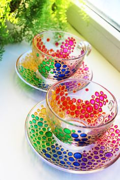 Tea Cup and Saucer, Hand Painted Multi Colored Bubbles Glass tea cup . @stainedglassware Ship Worldwide✈️ Non-toxic paints ☕️Can be used for Hot and Cold beverages! Measurements: Measurements: Cup Height 6,3 cm / 2,48 inch About 215 ml / 7,24 oz Saucer 13,5cm / 5,3 inch This is a listing for 2 cup and 2 saucer. Want to have it in different combination of colors? Fill free to write me. ✏️ This Mug can be personalized with the name or initials. For this just write me the name in convo. To ...