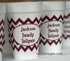 Personalized Chevron Styrofoam Cups for Family Tailgate