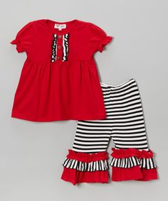 Look at this Red Tunic & Black Stripe Capri Pants - Infant, Toddler & Girls on #zulily today!