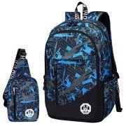 Backpack,Coofit 2Pc Oxford School Backpack Book Bag Laptop Bag Sling Bag Set Men's Casual Backpack School College Travel Backpack for Boys Men