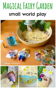 A magical fairy garden small world play...in a bowl! Play dough, sensory and imaginative play