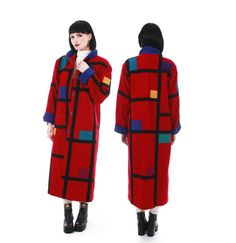 Vintage Coloratura color block wool coat. 🔹 Very rare and beautiful collectible piece. 🔹 Vibrant red with color blocked patches. 🔹 Black geometric pattern throughout. 🔹 Full length, straight silhouette. 🔹 Rounded collar, cuffed sleeves. 🔹 Double snap button front closures. 🔹 Large squared patch pockets. 🔹 Fully lined in black Nylon taffeta. 🔹 Flat medium shoulder pads. 🔹 No holes, stains, odors etc. 🔹 Dry cleaned and ready to wear. 🔹 Very heavy, warm, unique, and incredibly well…