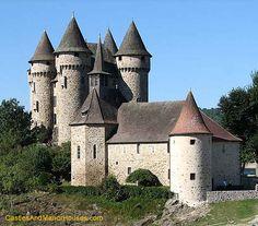 Château de Val,  Les Fontilles, 15270 Lanobre, Cantal, France.....         http://www.castlesandmanorhouses.com/photos.htm      .....      The Château is located on the shore of the Lake Bort-les-Orgues. It is classé as a Monument historique.