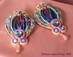 Embroidery earrings with shibori silk and soutache elements ©Simona Svezia Design, 2014 https://www.etsy.com/it/shop/PerlineeBijoux